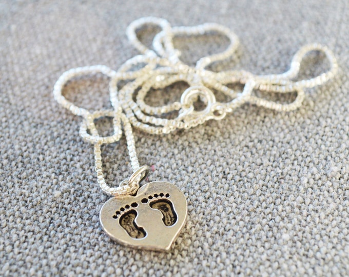 Silver toned love necklace, together forever necklace, I love you charm, I love you jewellery, two footprints charm, two footprints jewelry