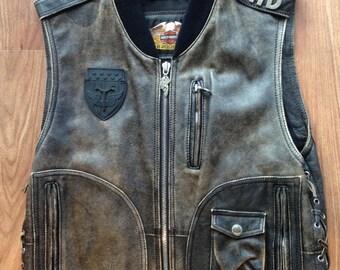 Vintage Original Harley Davidson Panhead Leather Vest