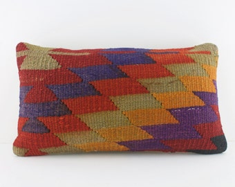 striped kilim lumbar pillow striped salmon lumbar
