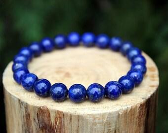 Natural Lapis Lazuli Bracelet, Natural Lapis Lazuli, Yoga Bracelet, Gemstone Bracelet, Beaded Bracelet, Men's Bracelet, Women's Bracelet