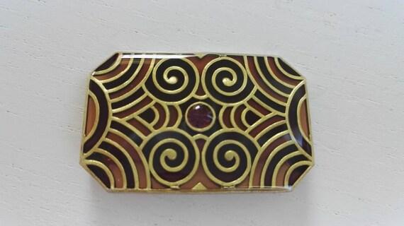 Lovely vintage Art Deco goldtone rhinetone brooch