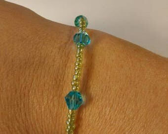 Lime Green Seed Bead with Light Blue Bead Bracelet