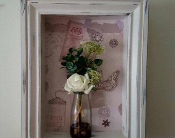 Shadow box, shabby chic, display box, cabinet, wall box, display case