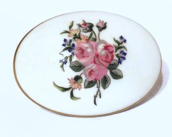 Haviland Limoges Trinket Box, Floral Fine Bone China Trinket Box, Jewelry Box with Pink Roses, Porcelain Vanity Box