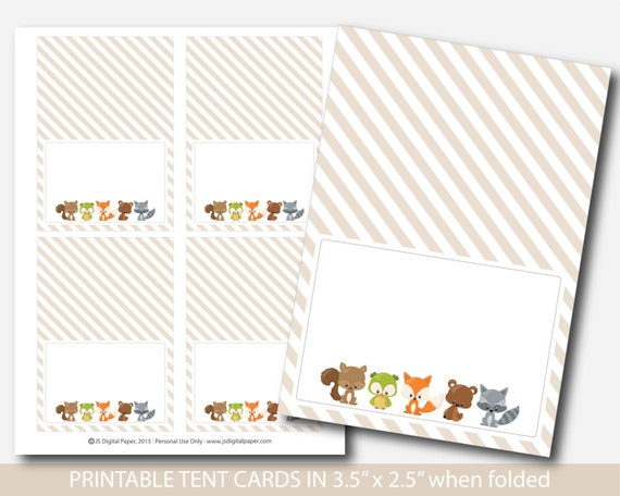 Woodland food tent cards fox baby shower food labels place for Tent cards staples