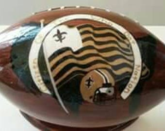 Who Dat Nation football w/flag. Stand included.