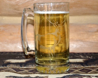 Hand Etched Buck Glass Beer Stein