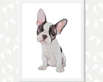 French Bulldog Art French Bulldog Watercolor Painting Print Frenchy Dog Printable Dog Mom Gift Instant Digital Download Print Puppy Nursery