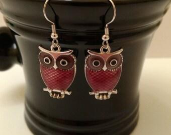 Purple Owl Fishhook Earrings 100% Nickel Free
