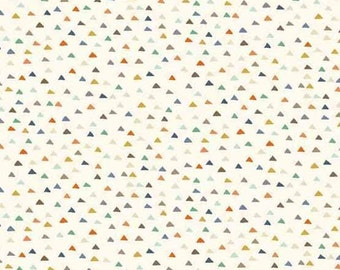 Baby Jungle in Triangles CREAM from Makower UK  - 1/2 Yard