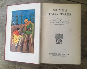 Grimms fairy tales, vintage fairy tales, brothers grimm, Tom Thumb, Hansel and Gretel, children's classic, 1940's book, Fairy stories