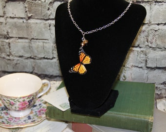 """Yellow / Gold  Butterfly Necklace Silver Toned Metal Alloy 24"""" in length"""