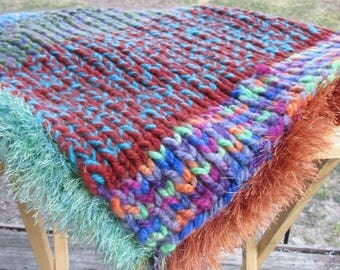 Cable Knit Lap Blanket | Vintage Fringe Blanket | Lap Rug | Lap Throw | Rainbow Throw | Stadium Blanket