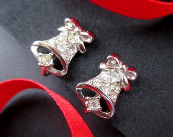 Christmas Bell Earrings * Pave Rhinestones * Holiday Earrings * Vintage Christmas Jewelry * Small Clip On Bell