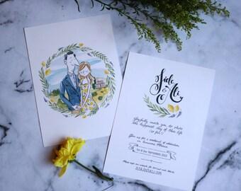 Illustrated Wedding Invitation - watercolour illustration, bespoke stationery, wedding illustration, calligraphy