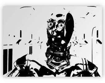 "Star Wars C-3po. "" Mirror hand engraved, sandblasted and coloured spray."
