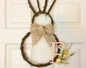 Grapevine Easter Wreath, Initial Wreath, Spring Wreath, Bunny Wreath, Easter Bunny Wreath, Monogram Spring Wreath, Neutral Spring Wreath,