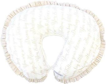 Love Letters  | Taupe & White Ruffled Nursing Pillow Cover