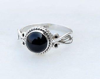 Black Onyx Ring, Black Silver Ring, Silver Black Ring, Solid Sterling Silver Ring, Sterling Silver Ring,size 3 4 5 6 7 8 9 10 11 12 13