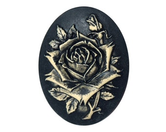 Rose black - Creation Noxlacrima cameo brooch