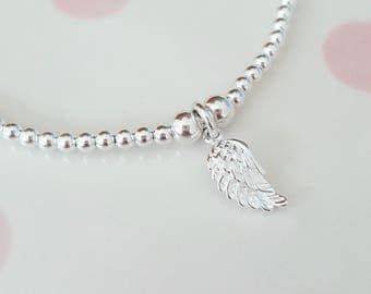 Angel Wing Bracelet, Silver Angel Wing Bracelet, Sterling Silver Bracelet, Stretch Bracelet, Stacking Bracelet, Angel Wing Jewellery