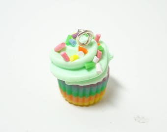 Rainbow Cupcake Charm, Miniature Food Charm, Cupcake Charm, Food Charm, Sweet Charm, Tiny Charm, Kawaii Charm, Charm Bracelet, Gift for her