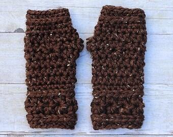 Brown Fingerless Gloves, Brown Mittens, Brown Gloves, Brown Crochet Gloves, Brown Crochet Mittens, Brown Wristwarmers, THE STARLING