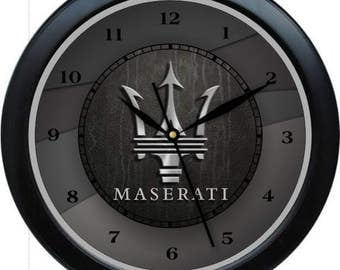 """12"""" Maserati Wall Clock Garage Work Shop Gift Father's Day Man Cave Rec Room"""