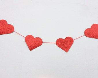 Glitter heart garland - made to order sparkly heart bunting - valentine, wedding, hen do, baby shower