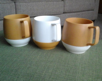 Dinex Thermos Mugs, Two Tone Gold, White Insulated Cups