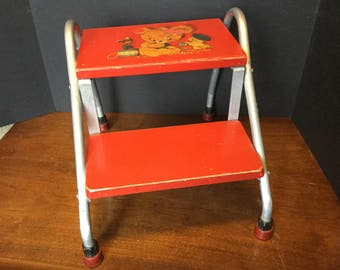 50s Child's Step Stool, Aluminum and Wood Red Painted Bathroom Stool with Decal