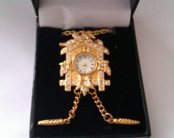 ETC CO LTD  cuckoo clock watch pendant/brooch