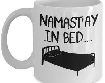 namastay in bed mug etsy. Black Bedroom Furniture Sets. Home Design Ideas