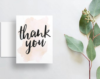 instant download watercolor splash thank you cards // champagne watercolor // hand lettering // printable digital files thank you notes