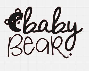 Baby Bear Svg File, Svg Cutting File, Svg File For Cricut, Svg For Silhouette, Bear Svg Cut File,
