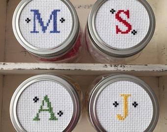 Monogram Mason Jar, Mason Jar Decor, Mason Jar Lid, Monogram Gift, Cross Stitch Art