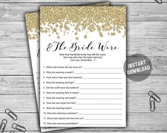 Bridal Shower - And The Bride Wore - Game - Cards - PRINTABLE - INSTANT DOWNLOAD - Gold - Glitter - Gold Bridal Shower Game - L14