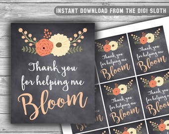 Thank You For Helping Me Bloom - Tag - Thank You Tags - Teacher Appreciation - Chalkboard - Floral - INSTANT DOWNLOAD - PRINTABLE - T07