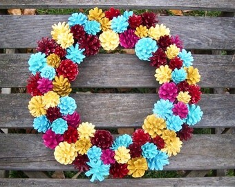 Pine Cone Wreath.  Colorful and Unique.  Custom Colors Available.  Wall decor, door wreath, Pine cones, gifts.