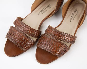 Vintage Etienne Aigner Sandals / Brown Leather Woven Flats