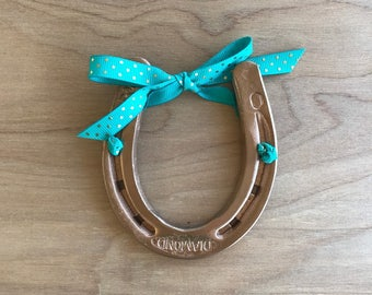 Lucky Horseshoe, Pony Shoe, Cowboy, Cowgirl, Western, Horses, Gallery Wall, Upcycled, Nursery Decor, Copper, Teal, Polka Dot, Good Luck