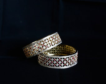 Set Of Two Cubic Zirconia Bangles, Bracelet / Cz Kadas / Traditional Indian Jewelry / Gift For Her / Gift For Mom / Indian Wedding Jewelry .