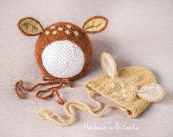 Baby Bonnet with Ears, Fawn Hat, Newborn Photo Prop