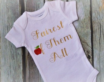 Fairest of Them All, Snow White, Disney Outfit, Onesie, Baby Bodysuit, Disney Trip, Disney Princess