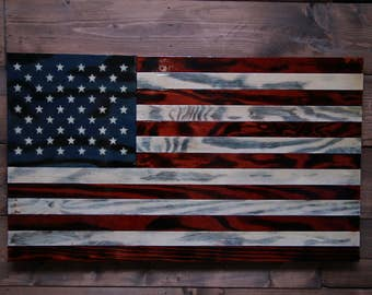 Old Glory - American Flag - Military Veteran Made - Wood Flag - Torched - Wall Decor - Art - Wall Hanging - Patriotic - Handmade - Sign