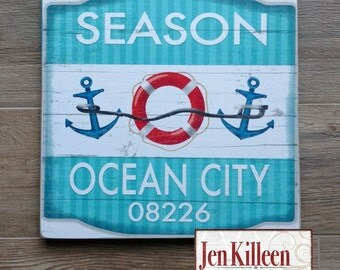 "Jersey Shore ""Ocean City""  Beach Badge Wood Sign // Jersey Shore Art // NJ // Beach Decor // Town Signs // Beach House Sign"