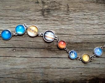 Planet bracelet, bracelet with planets, solar system bracelet, solar system jewelry, galaxy bracelet, nebula bracelet