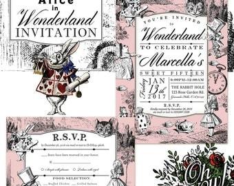 Alice In Wonderland Theme Custom Birthday Party Invitation & R.S.V.P card