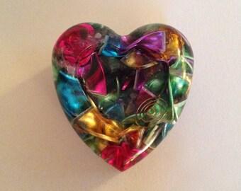 Orgone heart with Tibetan quartz, rose quartz, amethyst, Selenite and Fluorite crystals