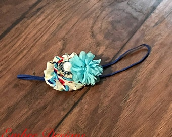 Peacock baby headband, navy teal red cream shabby headband, baby headband, toddler headband, flower headband, navy, teal, red, cream